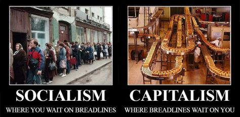 The biggest difference between Socialism, and Capitalism.